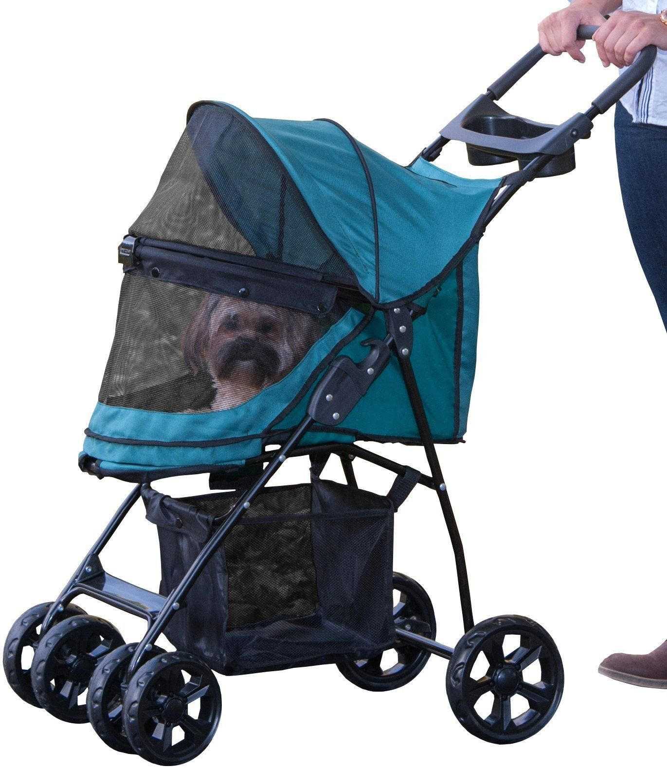 Pet Gear NoZip Happy Trails Lite Pet Stroller Pine Green