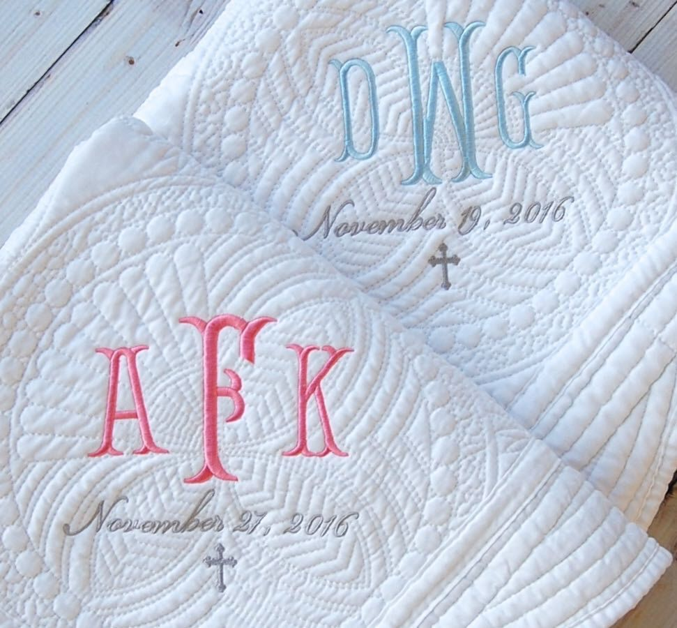 Baptism gift monogram quilt new baby gift personalized baby baptism gift monogram quilt new baby gift personalized baby quilt baptism gift negle Image collections