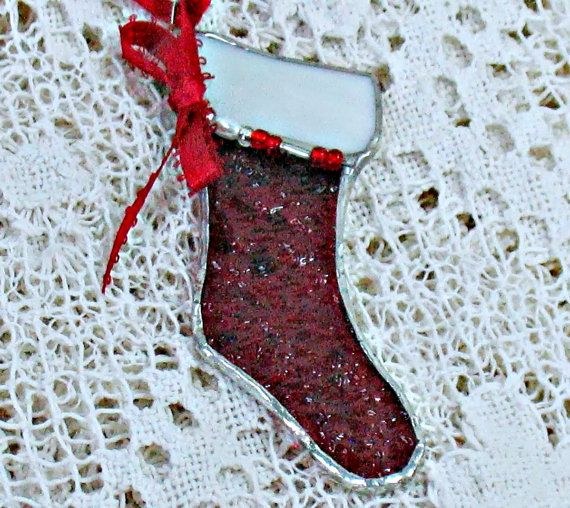 Red Christmas hanging stocking ornament in stained glass window decoration beaded tree ornament  holiday suncatcher ornament teacher gift