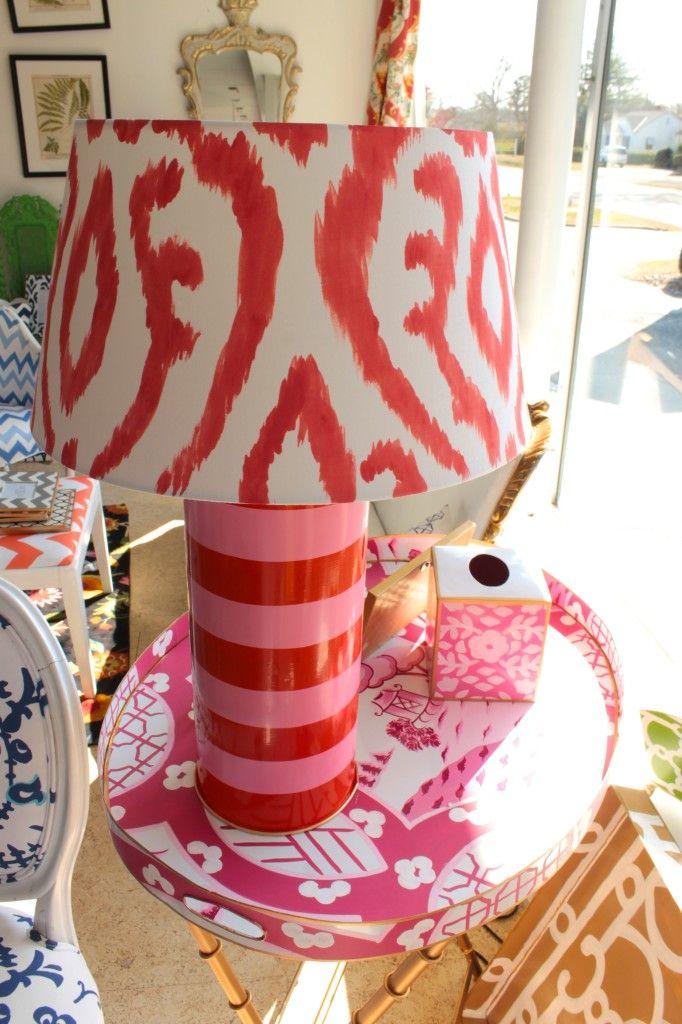 Dana Gibsonu0027s Pink Stripe Lamp With Ikat Shade Via The Gracious Posse