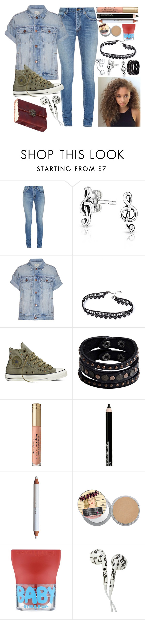 """The Musician at School "" by ahardcorepianist ❤ liked on Polyvore featuring Yves Saint Laurent, Bling Jewelry, Current/Elliott, Converse, Replay, Isadora, shu uemura and Maybelline"
