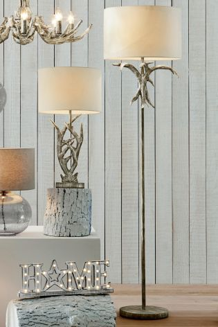 Antler Grey Washed Floor Lamp With Shade From Next Led Floor