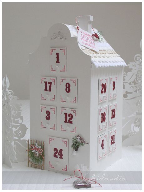 advent calendar house ~ wonder if I could make this little drawers