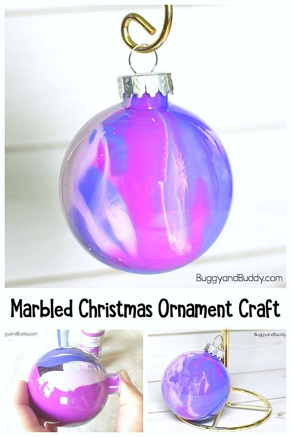 These marbled ornaments are way easier to make than they look! is part of Kids Crafts Christmas Daughters - Making marbled ornaments is super fun and somewhat addictive  It's so fun to see all the color combos and designs you can come up with kids love it!