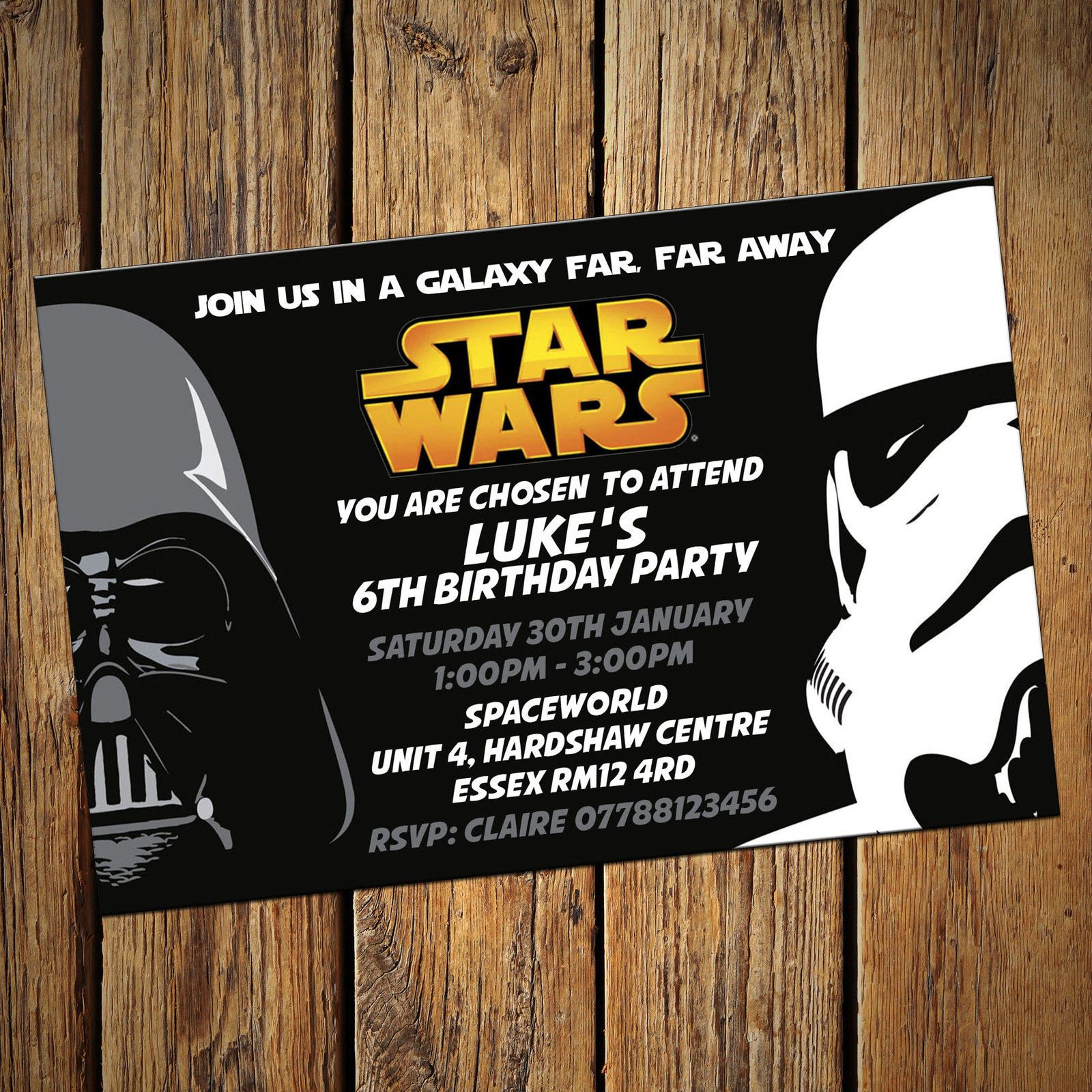 Star Wars Personalised Party Invitations Birthday Invites