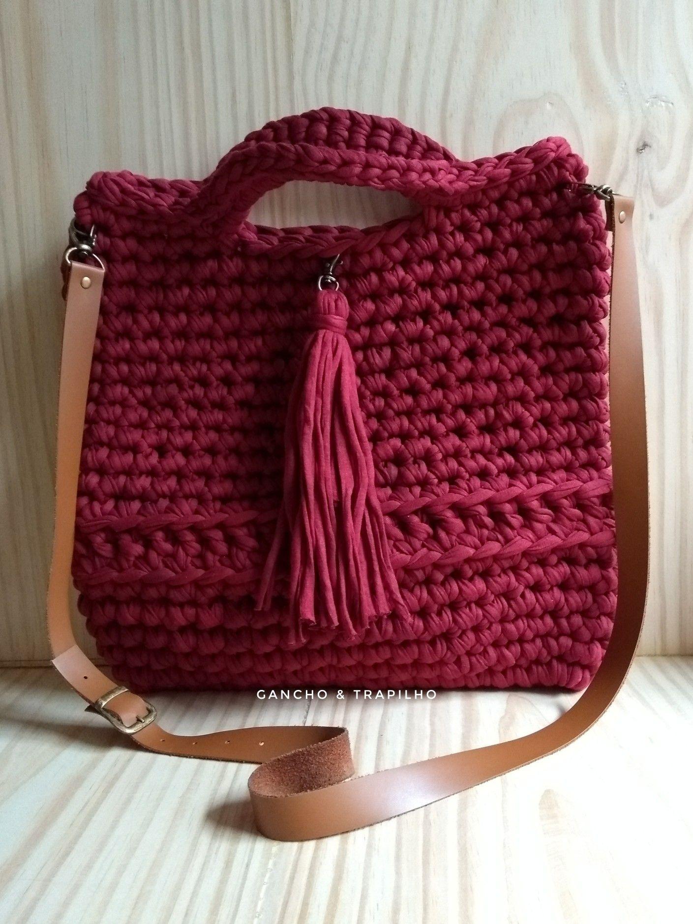c55cfb621 Shopping bag / bag / bolsa de crochê com fio de malha | Feltro ...