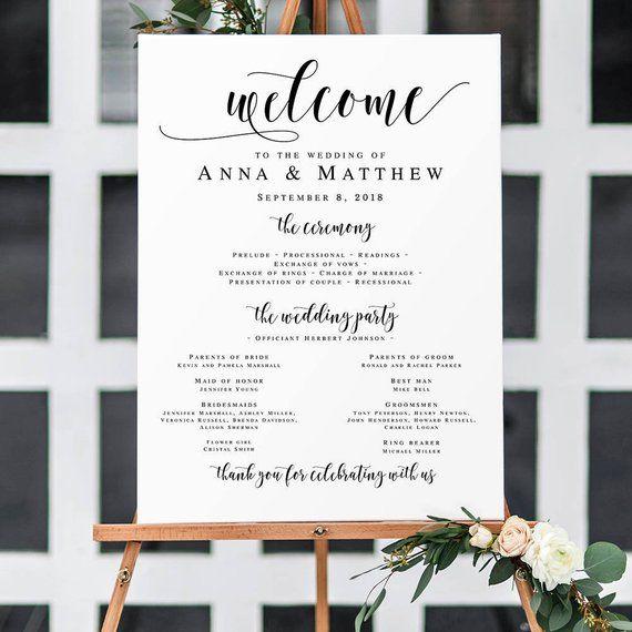 Wedding Welcome Program Sign Large Templates Poster Edi