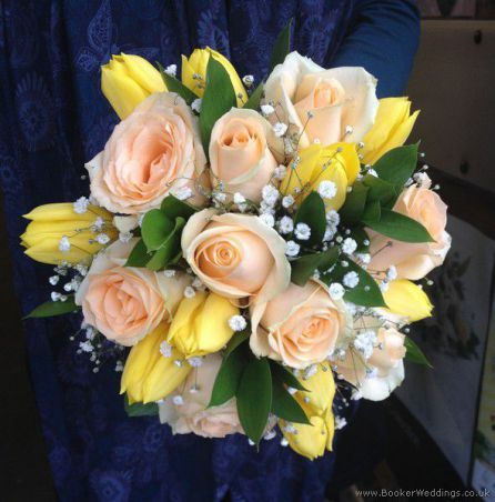 Fresh Spring Wedding Flowers Peach Rose And Yellow Tulip Hand Tied Bridal Bouquet