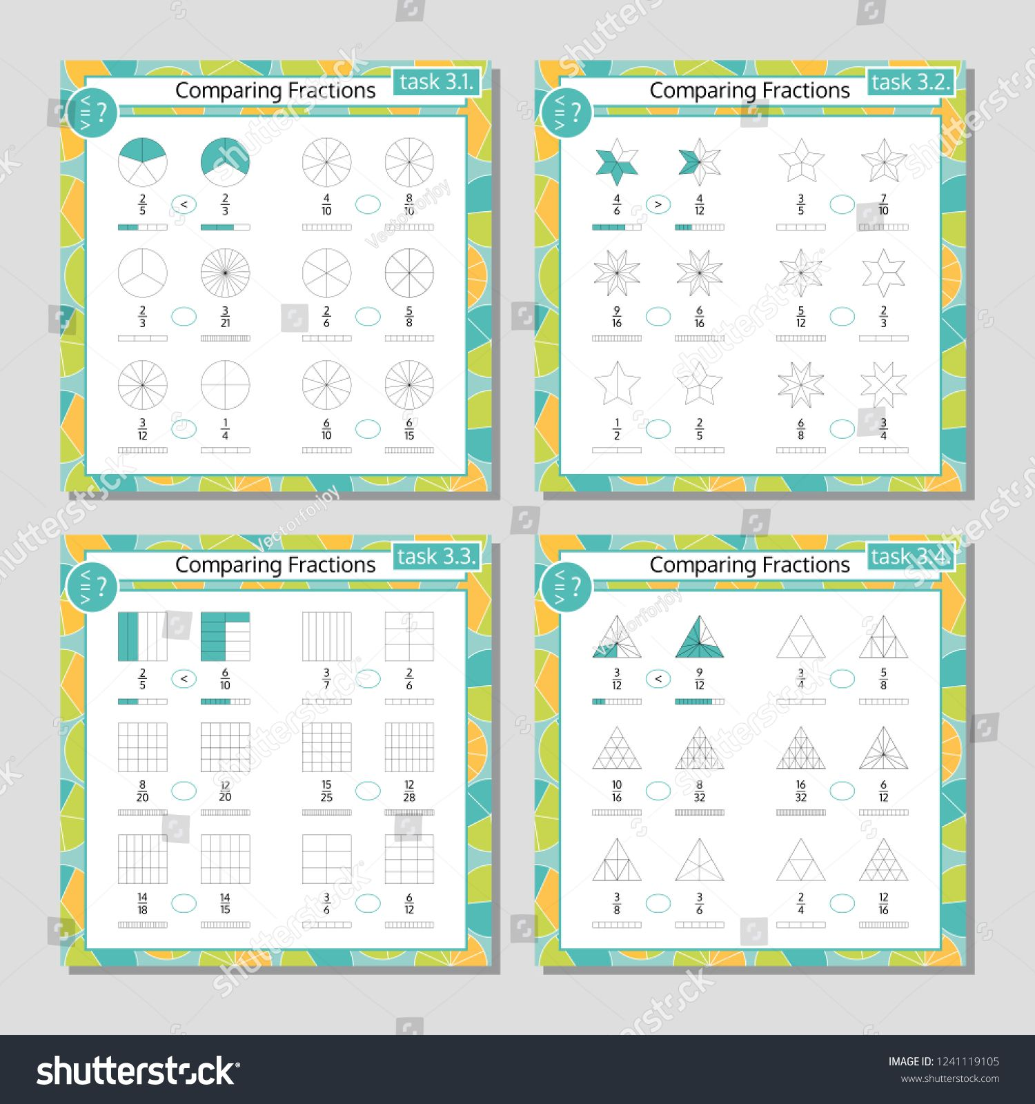 Comparing Fractions Mathematical Worksheet Set Coloring