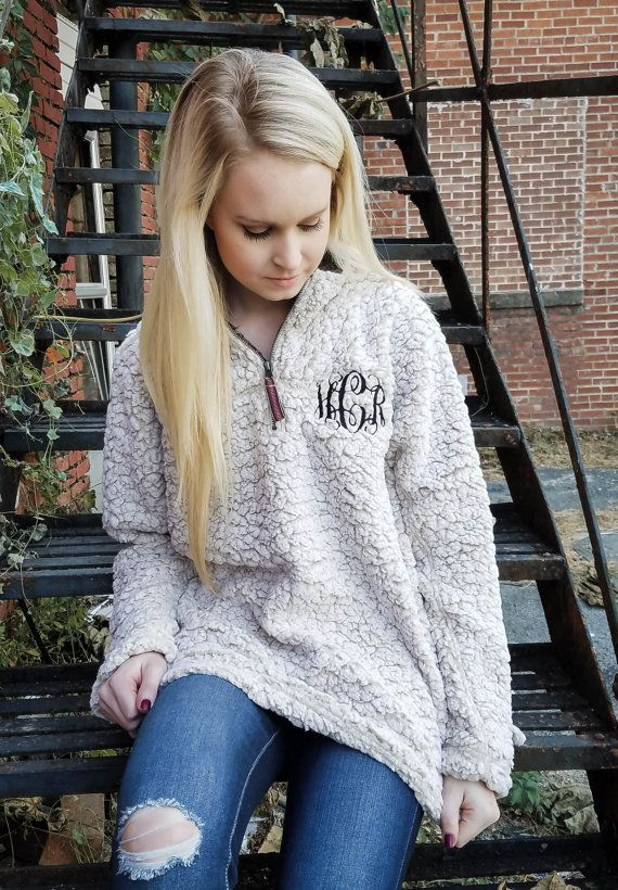 monogrammed quarter zip sweatshirt monogram sherpa by