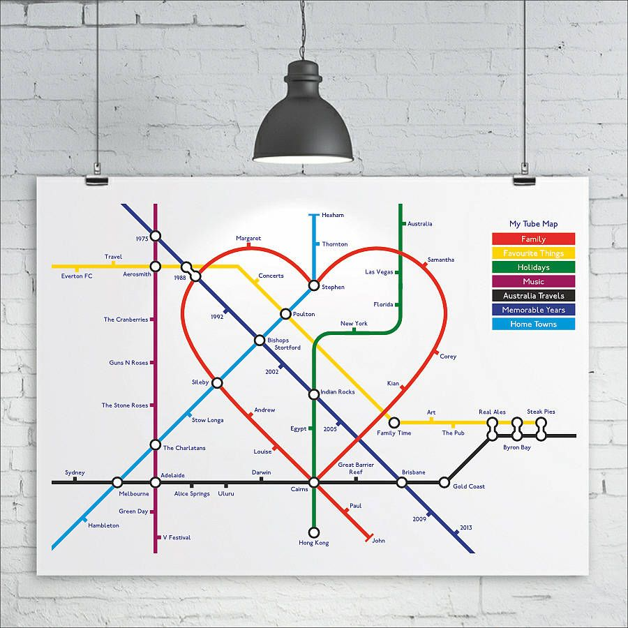Personalised favourites heart tube map wall art pinterest favourite things heart tube metro subway map art by kiacoltd gumiabroncs Images