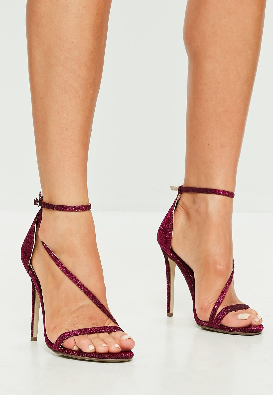 882543fdf119b0 Missguided - burgundy glitter asymmetric barely there sandal heels ...