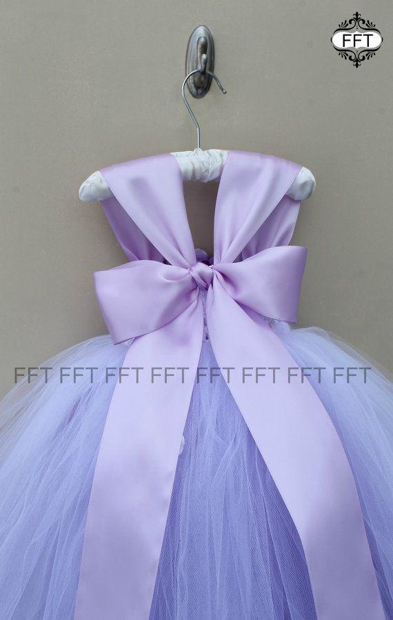 Vestido de niña de las flores lavanda luz púrpura vestido con ...