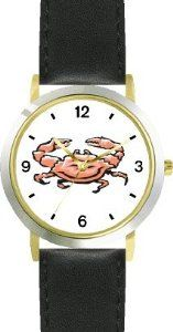 Reviews Crab Animal - WATCHBUDDY® DELUXE TWO-TONE THEME WATCH - Arabic Numbers - Black Leather Strap-Size-Children's Size-Small ( Boy's  The best bargains - http://greatcompareshop.com/reviews-crab-animal-watchbuddy-deluxe-two-tone-theme-watch-arabic-numbers-black-leather-strap-size-childrens-size-small-boys-the-best-bargains
