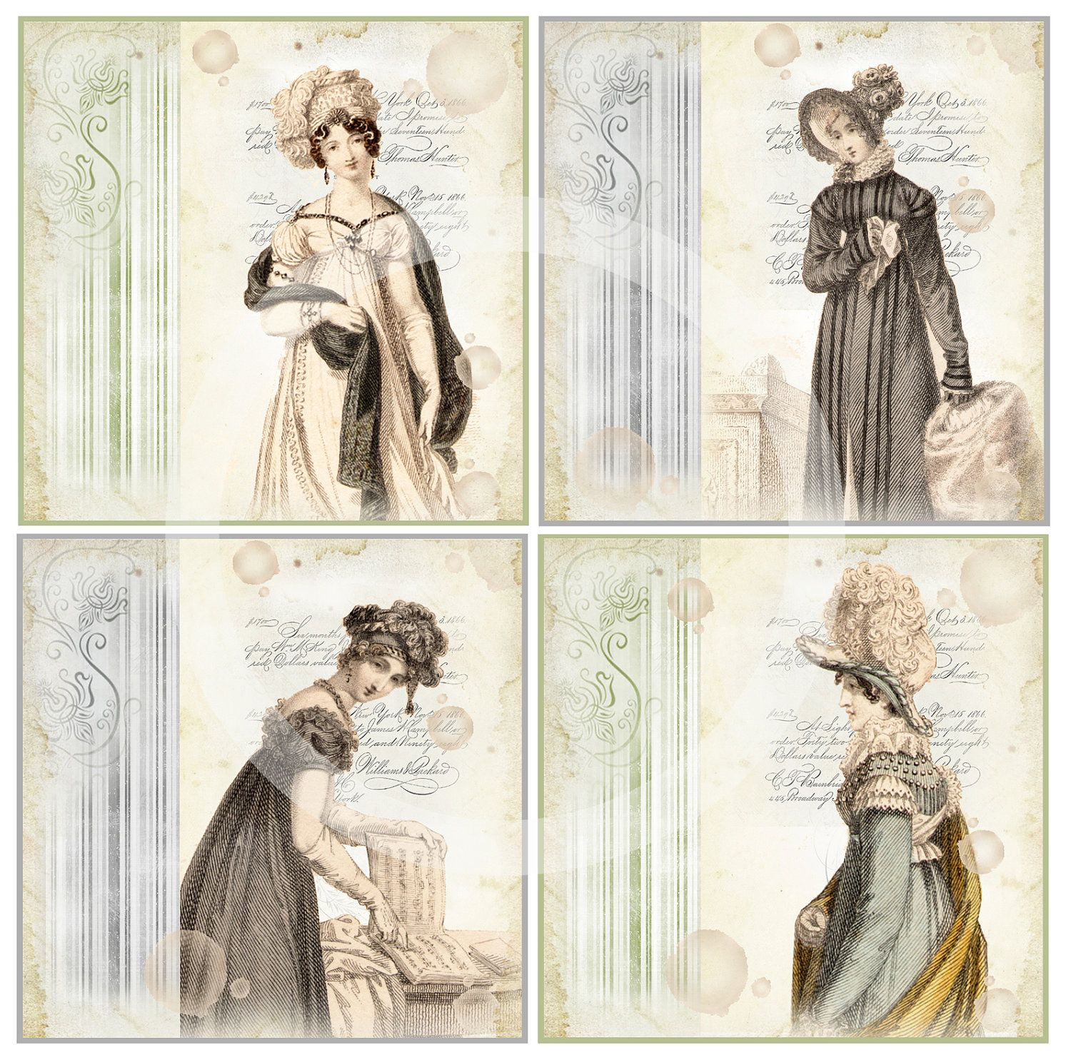 REGENCY SQUARES & STRIPS - Scrapbooking - Printable Download - Digital Scan - Jane Austen