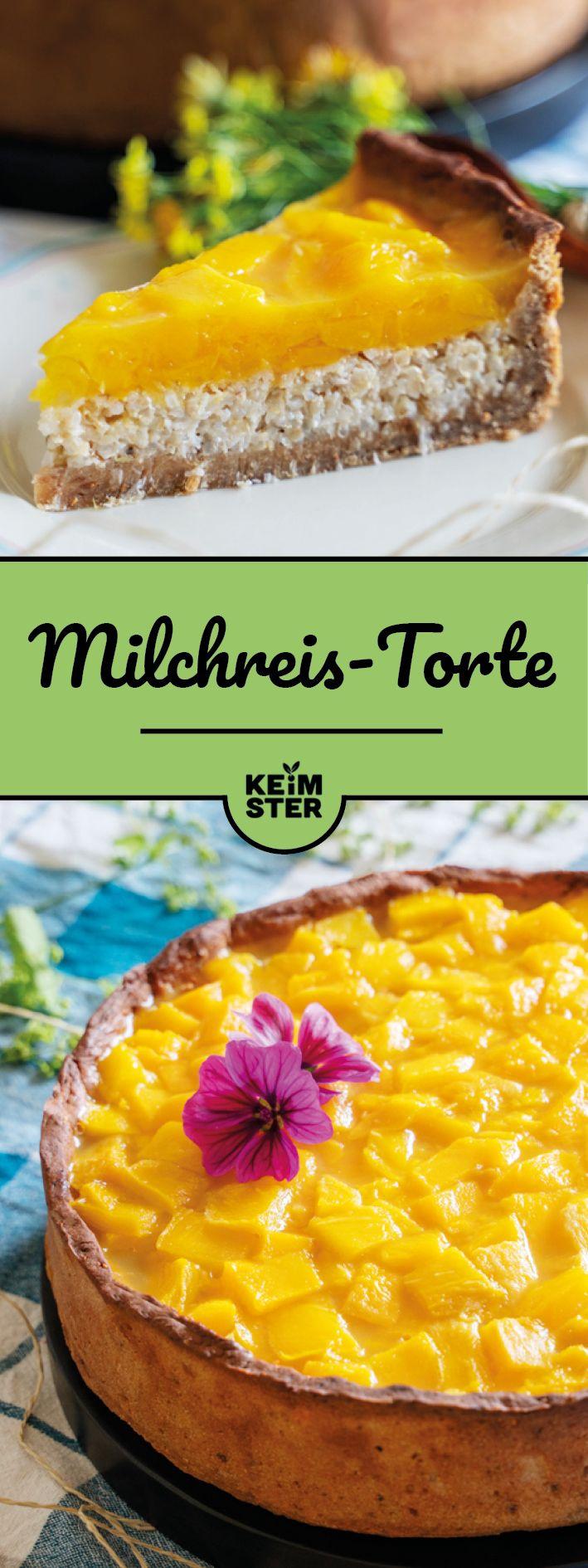 Milchreis-Torte mit Mango - zuckerfrei und vegan