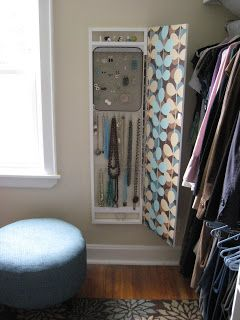 Box with hinges cover for jewelry storage inside closet by