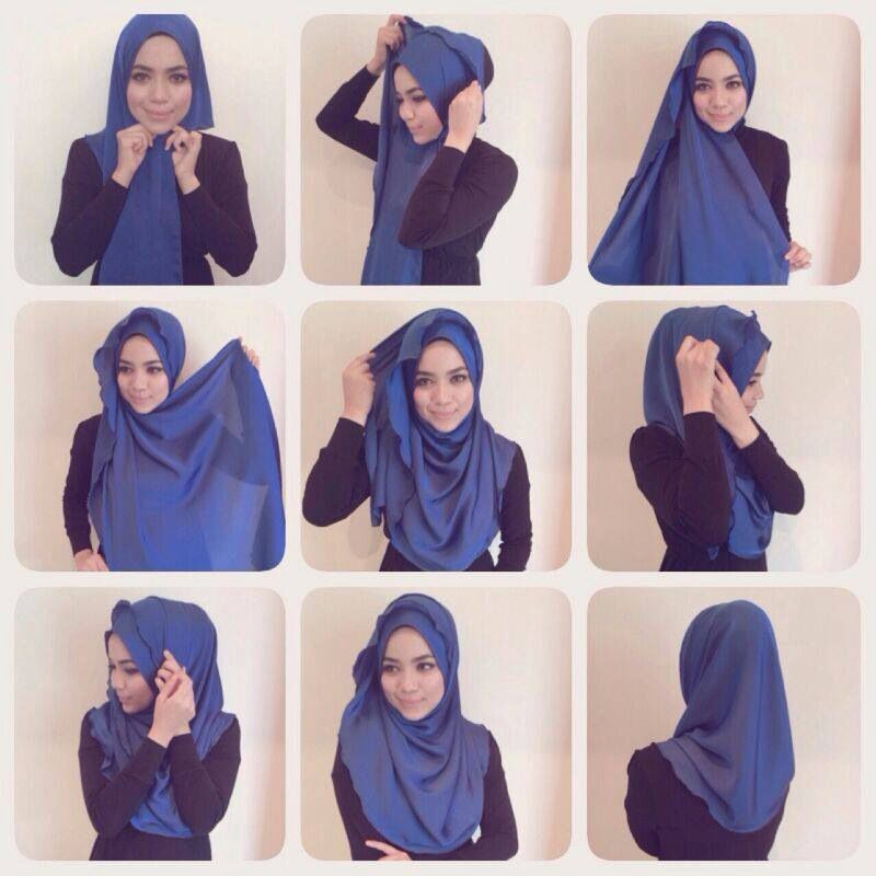A Simple Step By Step Tutorial On How To Style The Half Moon Shawl Image Courtesy Of Radiusite Hijab Tutorial Hijab Hijab Style Tutorial