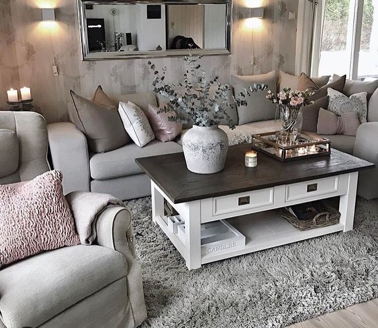 Table Color Contrast Living Room Grey Chic Living Room Shabby