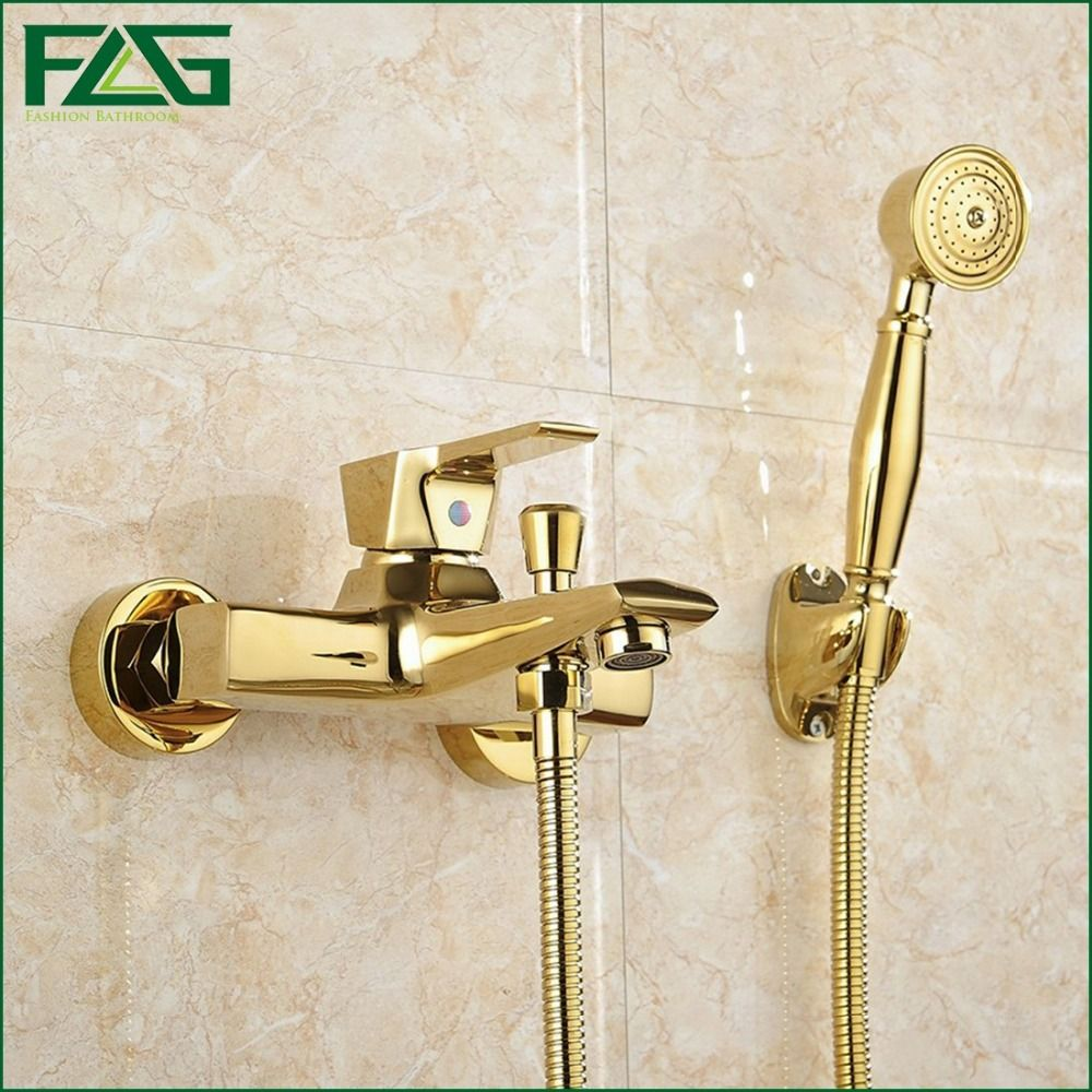 FLG Wall Mounted Antique Brass Brushed Gold Plated Bathtub Faucet ...
