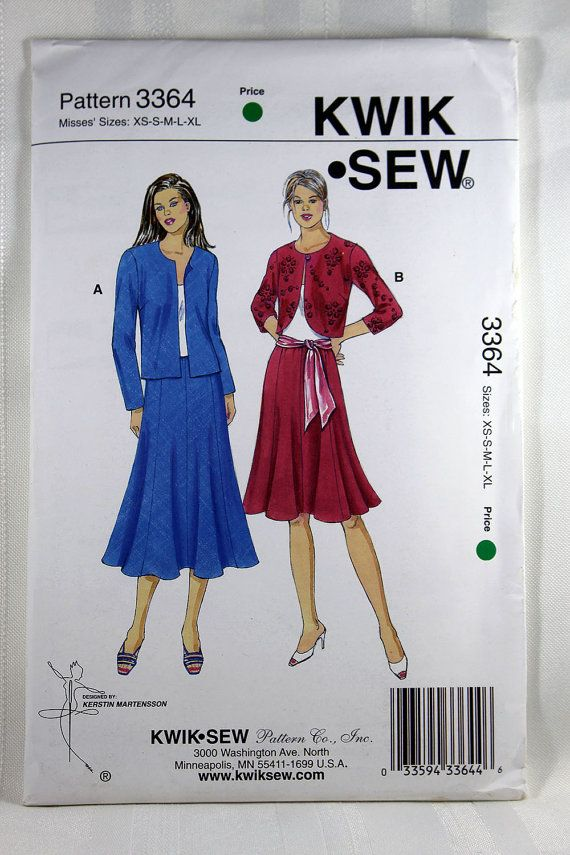 Kwik Sew 3364 Misses Jackets And Skirts Sewing Pattern Jacket