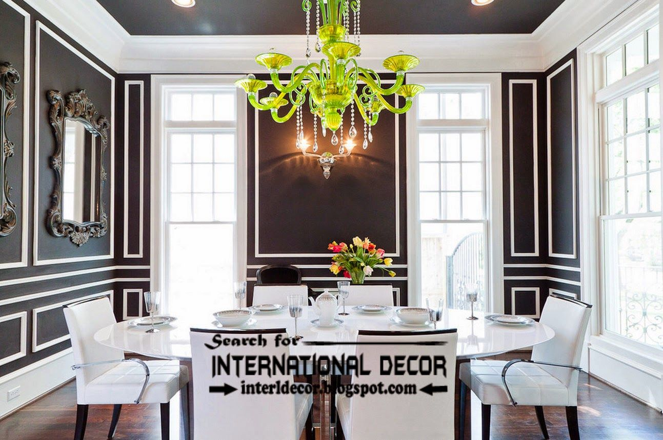 Enchanting Chandelier Decorating A Luxurious Black And White Dining Room Interior Design Neoteric Beautiful Villas Luxury Comfort Style For The Perfect