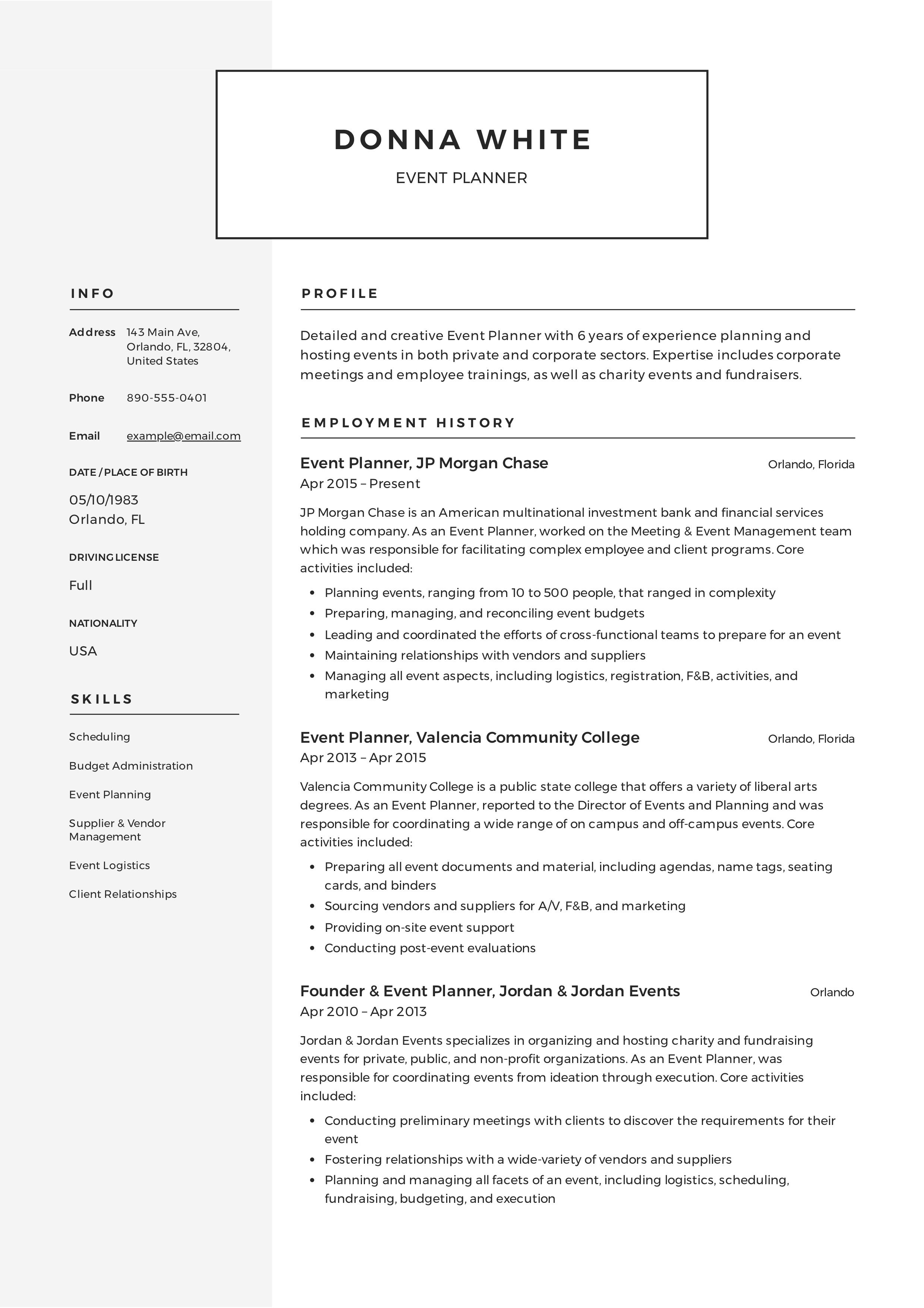 Event Planner Resume Administrative Assistant Resume Event Planner Resume Office Manager Resume