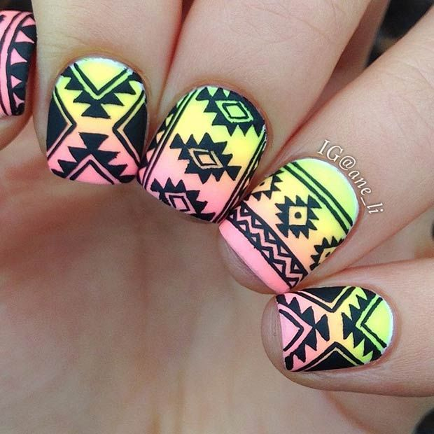 Black & Ombre Tribal Nail Design - 19 Tribal Inspired Nail Art Designs Black Ombre, Ombre And Black