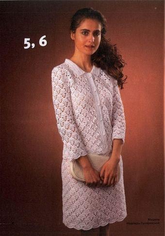 d1f03fa370b Белый ажурный костюм крючком для женщины. Схема и описание вязания женского  костюма