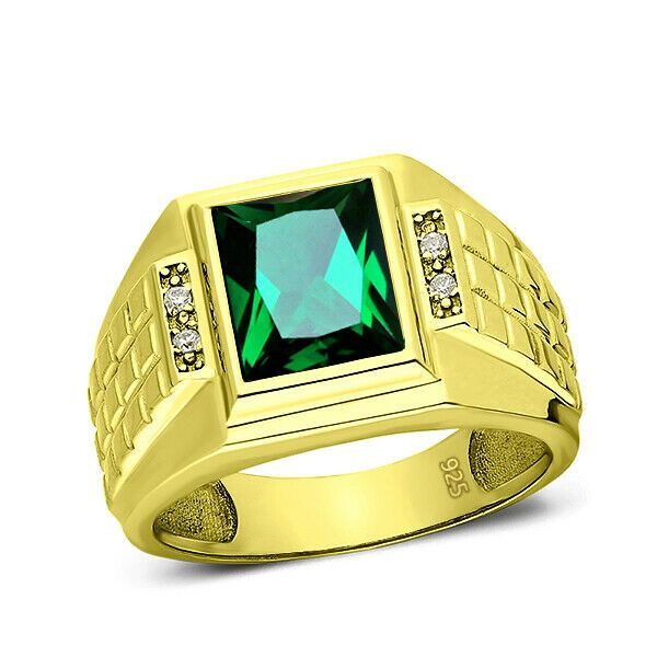 Details about 18K Yellow Gold Filled Silver Gemstone Diamonds Mens Luxurious Jewelry Ring 6-15
