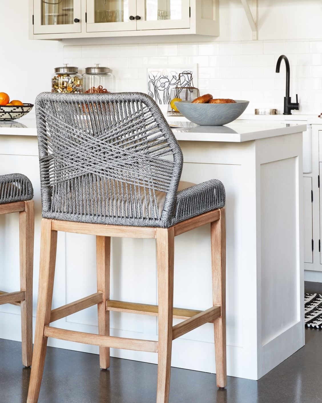 countertop stools kitchen lights for these woven rope counter are such a fun unexpected accent