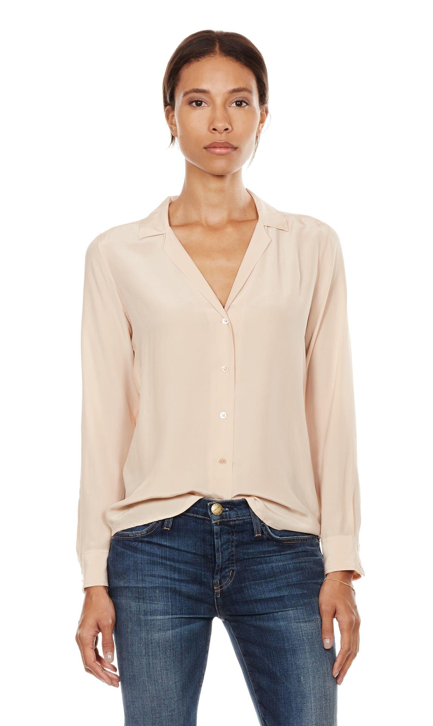 58afc261c Long sleeve adalyn silk shirt | Dream Closet | Tops, Fashion, Blouse