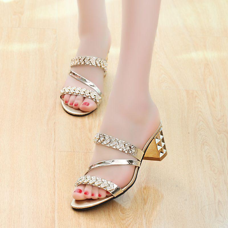 0112ba4ace $18.60 Gold size 6.5 Charming Genuine Leather high-heeled Rhinestone ...