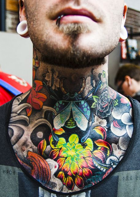 Gorgeous Color Work Best Neck Tattoos Throat Tattoo Neck