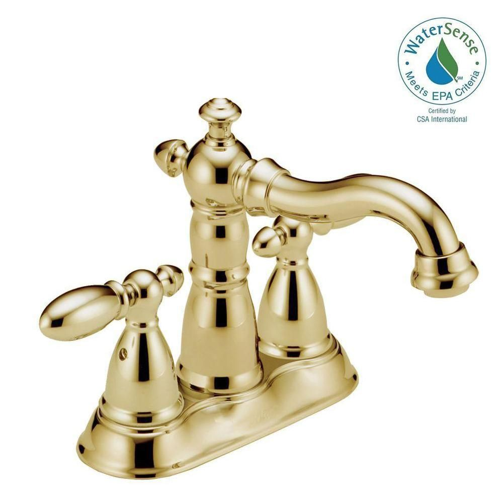Delta Victorian 4 In Centerset 2 Handle Bathroom Faucet With Metal Drain Assembly In Champagne Bronze 2555 Czmpu Dst The Home Depot Bathroom Faucets Delta Faucets High Arc Bathroom Faucet Delta polished brass bathroom faucets