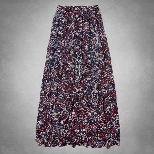 Pattern Chiffon Maxi Skirt, burgundy, navy, blue. By PrettyPins