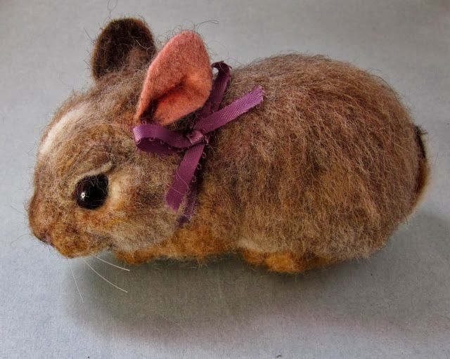 Daphne - a Life-sized Baby Cottontail Bunny - needle felted art - by Robin Joy Andreae