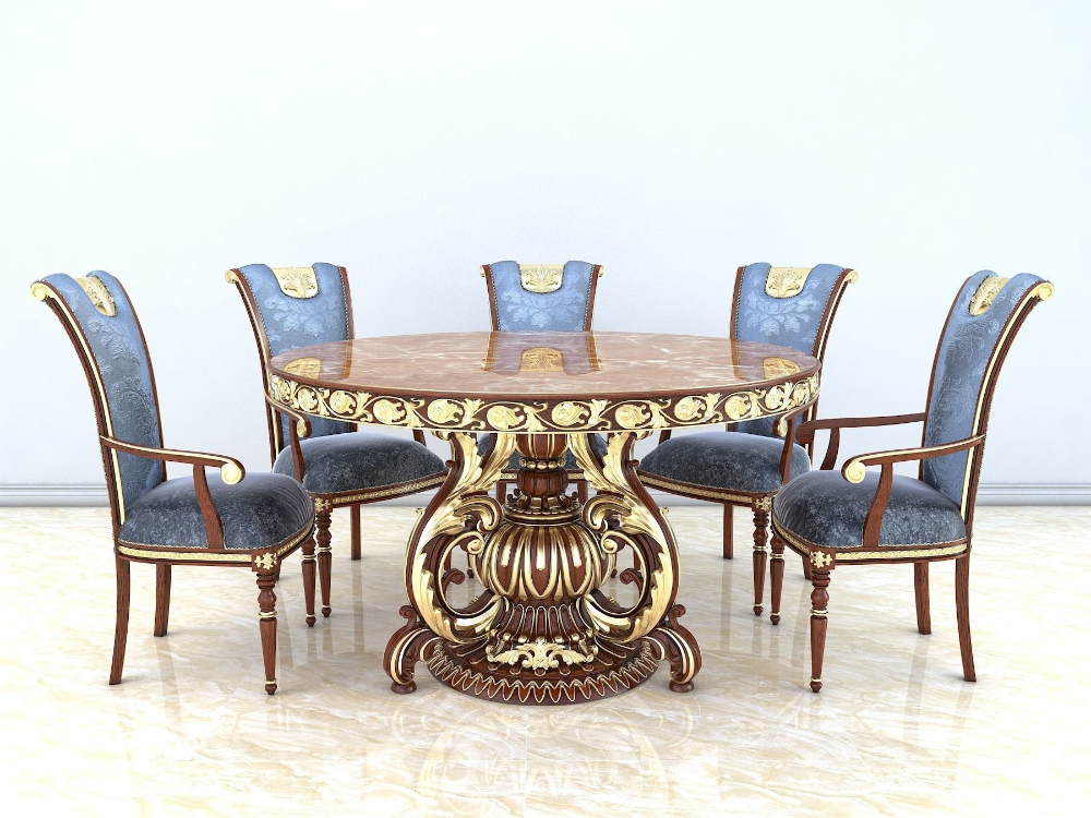 Classic Dinning Table Chair Set 2 3d Model Dinning Table Chair Set Table And Chairs