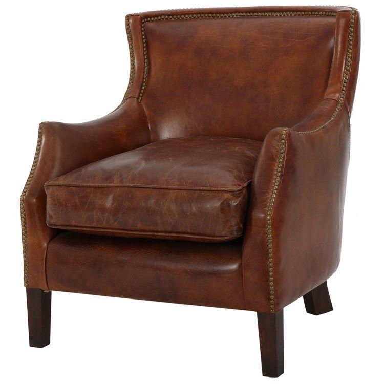 Adelbert Kraig Armchair Leather Accent Chair Leather Armchair Leather Club Chairs