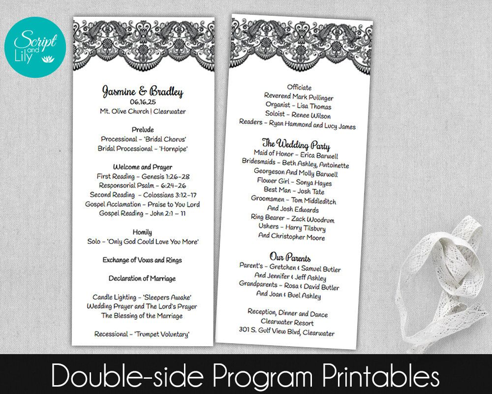 Black and White | Lace Wedding Program Template, Double-Sided ...