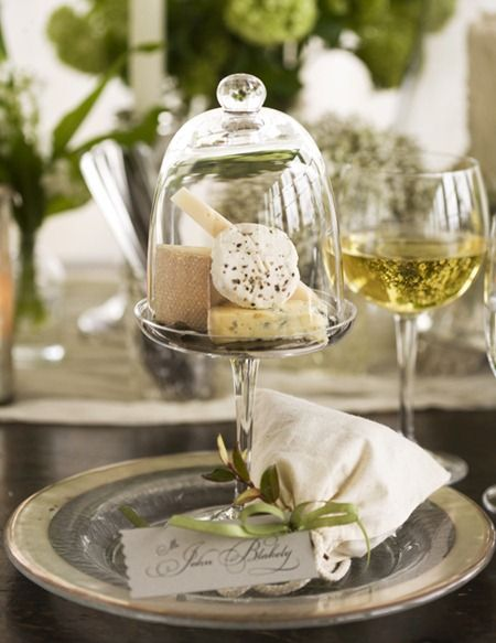 cloche filled with cheese & crackers for each guest~ LOVE this!