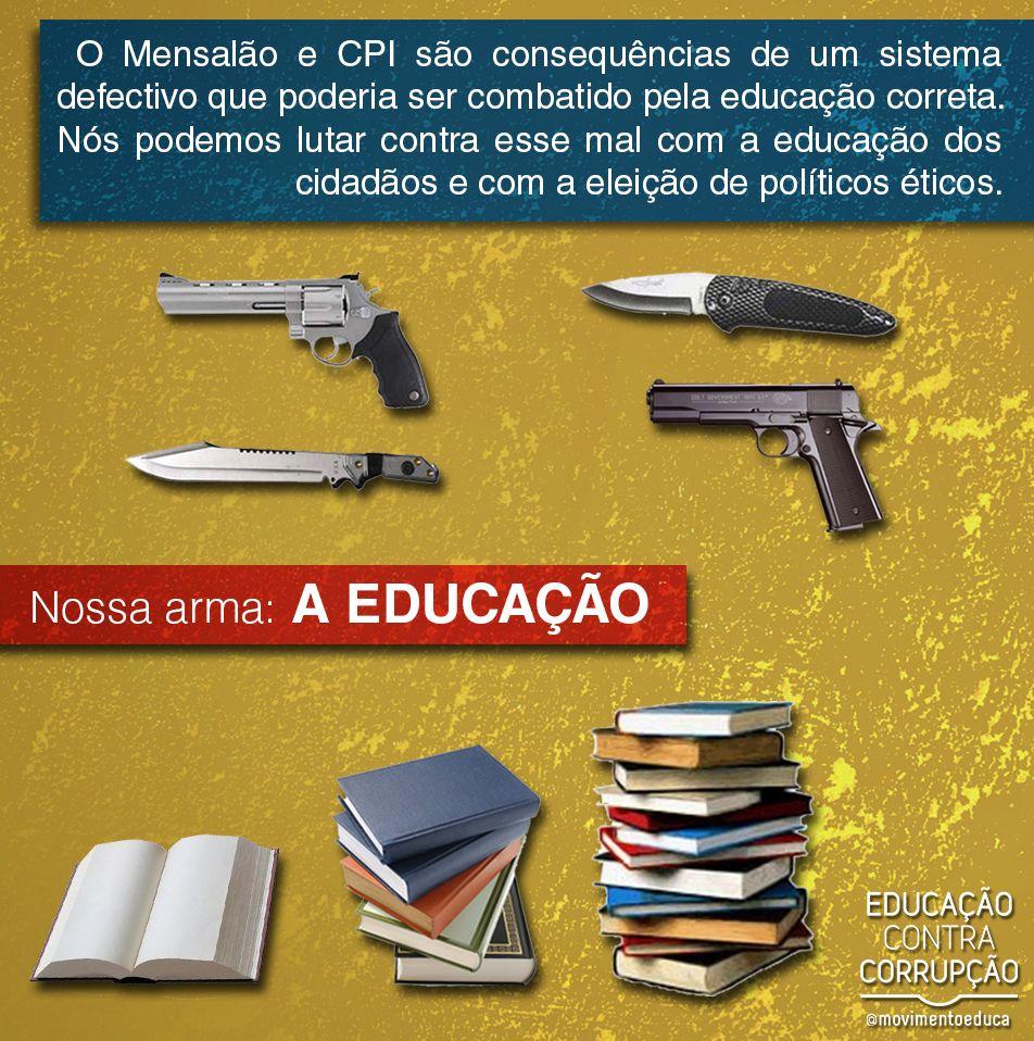 Nossa maior e melhor arma contra a corrupção é a EDUCAÇÃO!