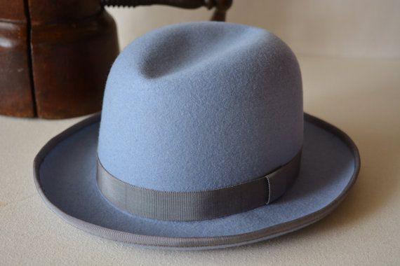 Light Blue Wool Felt Homburg Pure Wool Felt Handmade Homburg Fedora Hat Men Women Mens Dress Hats Hats For Men Blue Wool