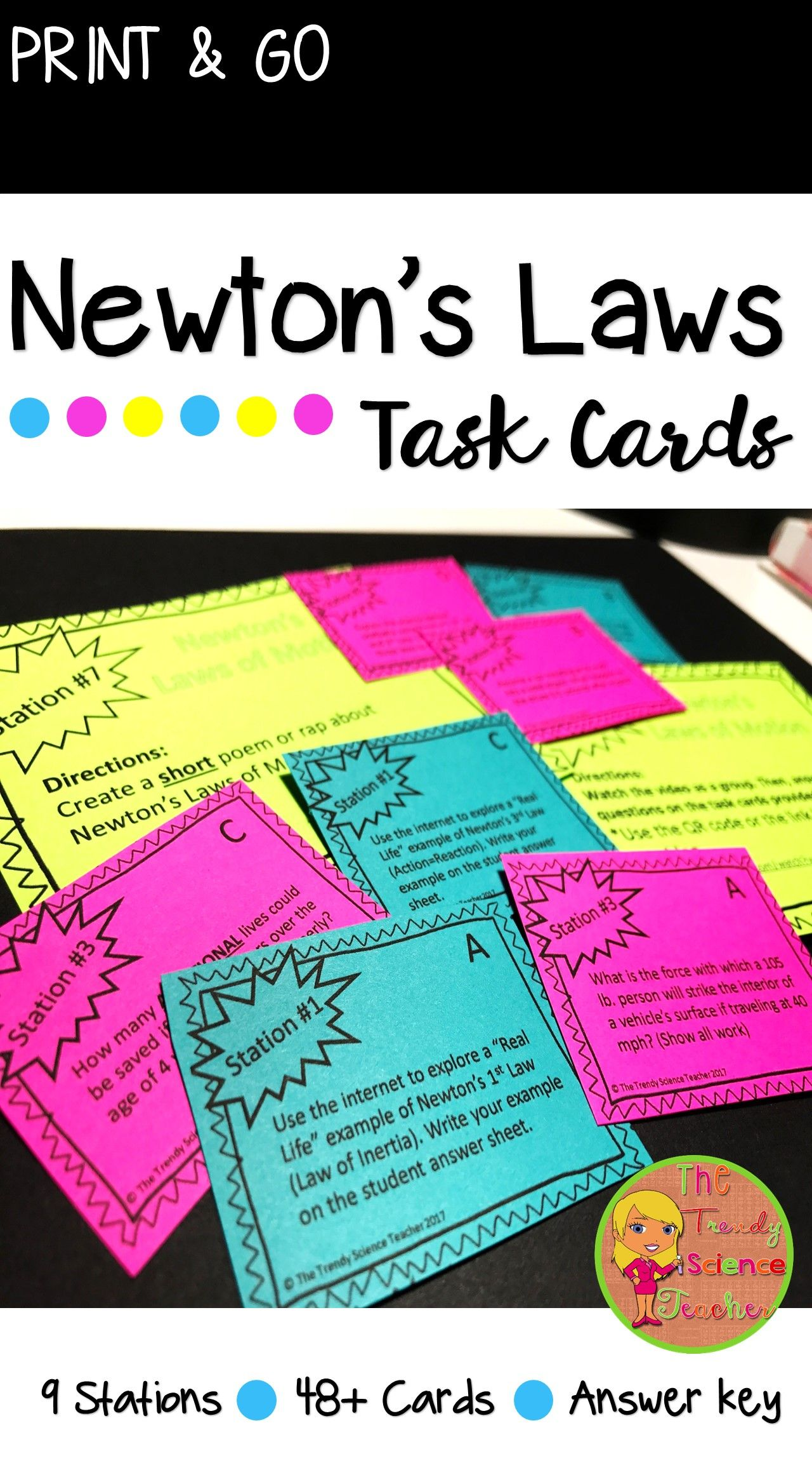 Physical Science Newton S Laws Of Motion Task Cards