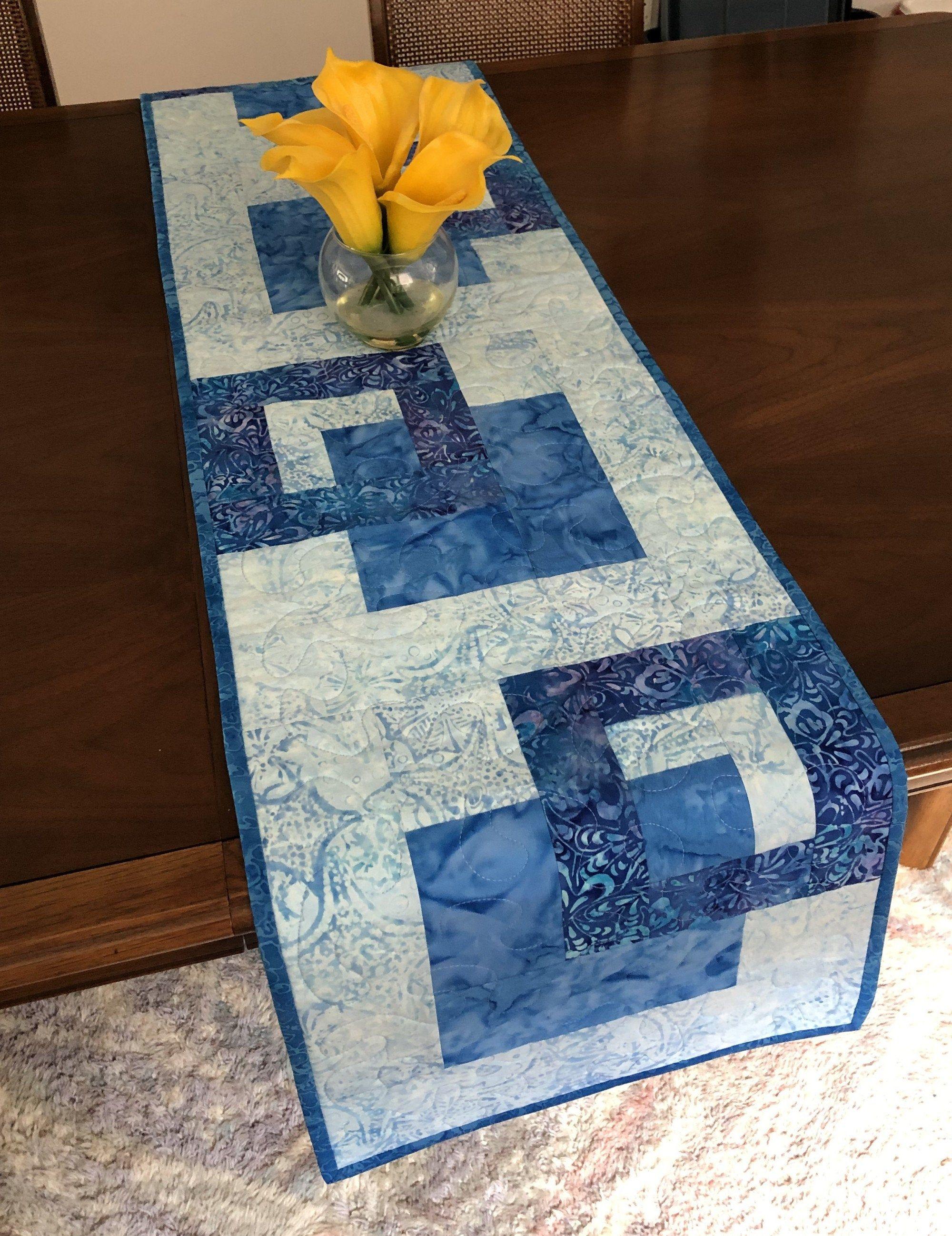 Bright Point Table Runner Dining Table Runner Quilted Table Runner Table Decor Handmade Runner