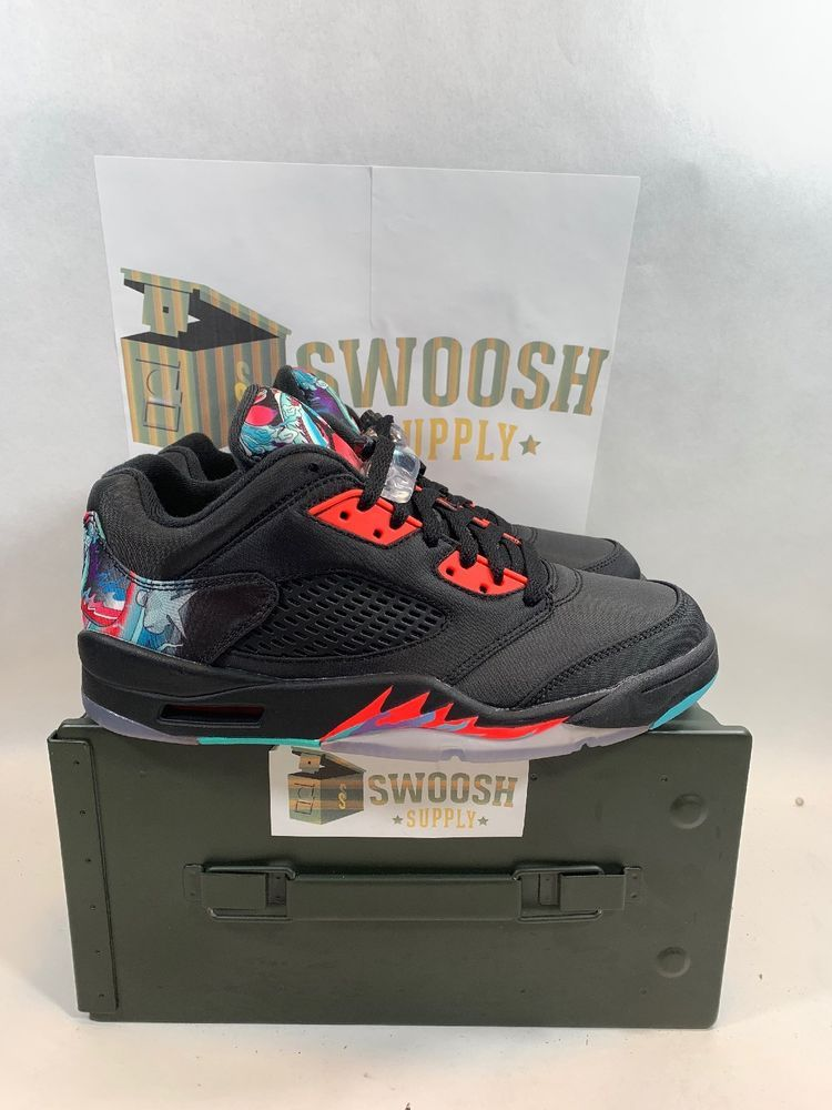8c96e4c6efd2c2 Nike Air Jordan 5 Retro Low Chinese New Year Black Red Blue 840475 060 Size  7.5  Jordan  BasketballShoes
