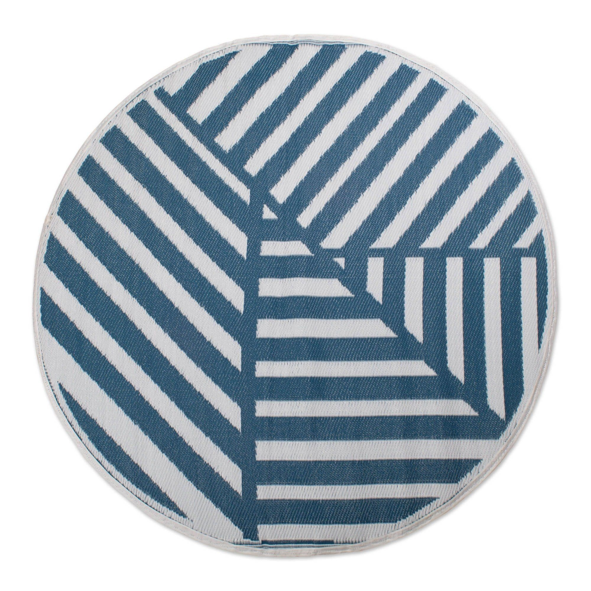 Dii Round Geometric Outdoor Rug Gray