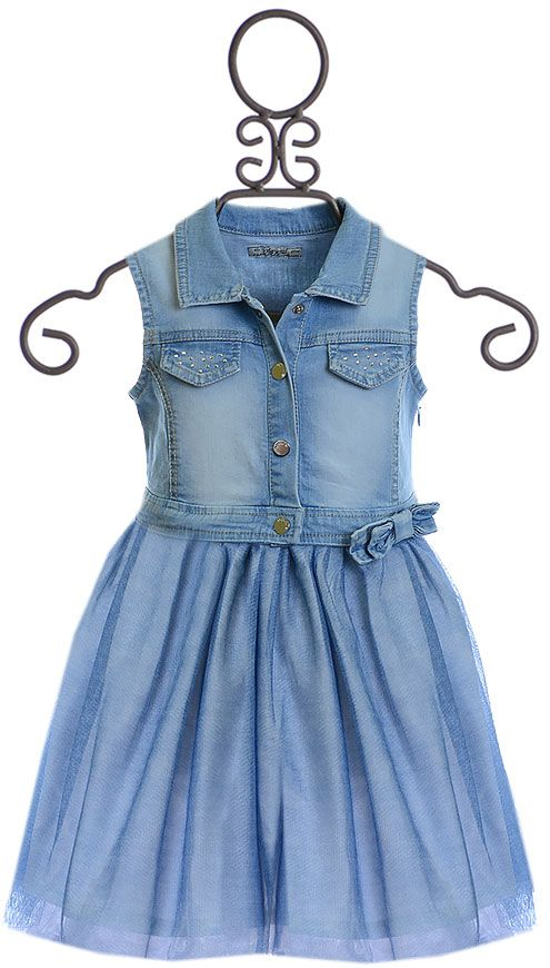 62dd704cf39f Mayoral Denim Dress with Tulle Skirt