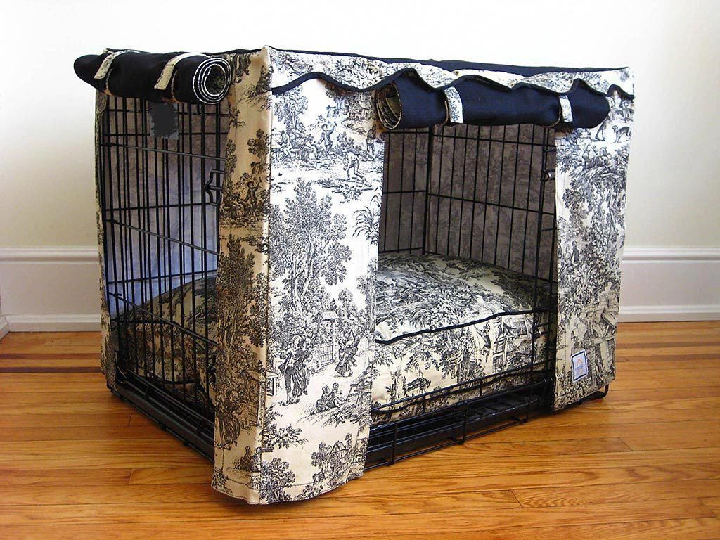 Black Toile Crate Cover Dog crate cover, Crate cover