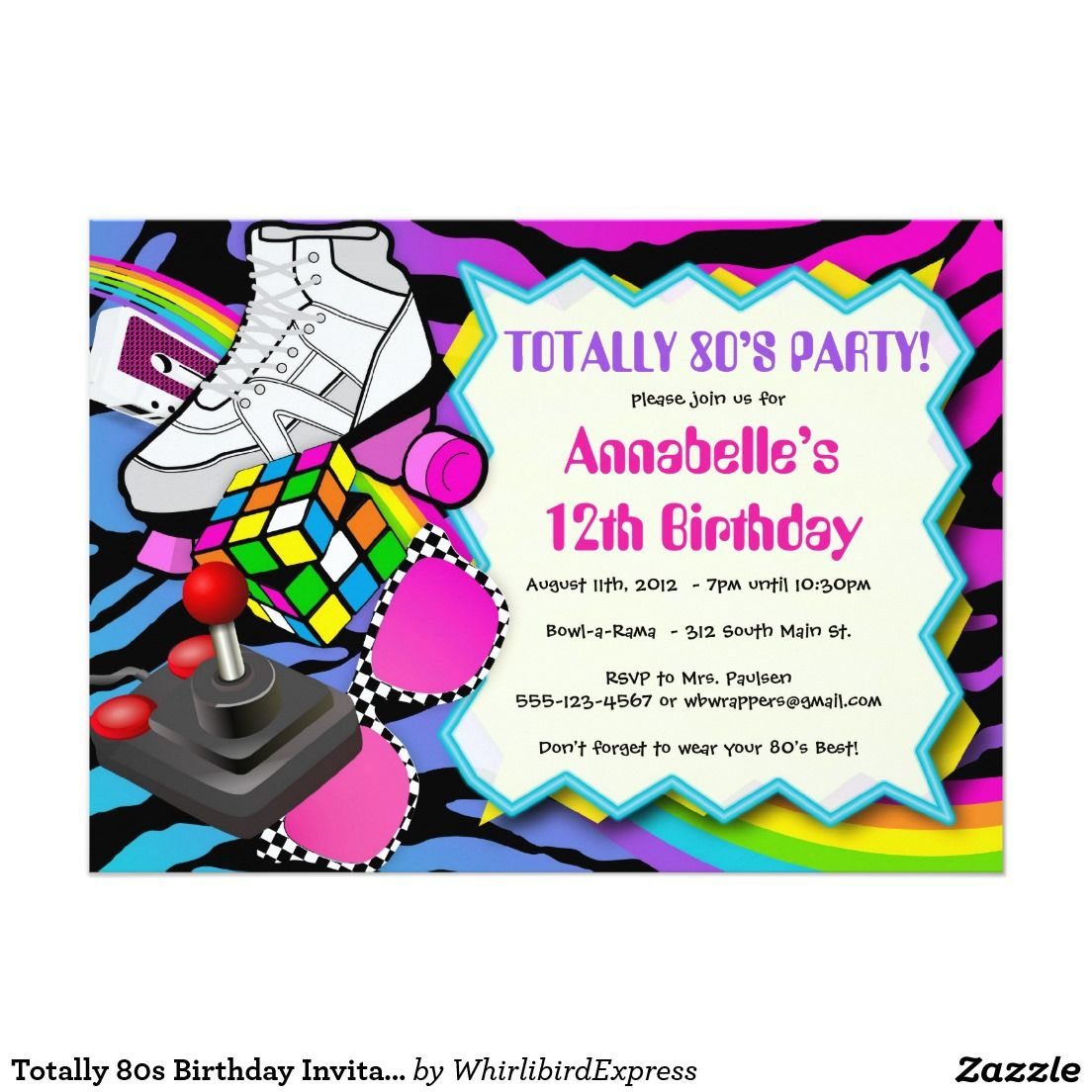 Totally 80s Birthday Invitation - 1980s theme | 1980s party ideas ...